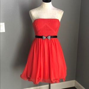 Way-In Strapless Coral Cocktail Dress